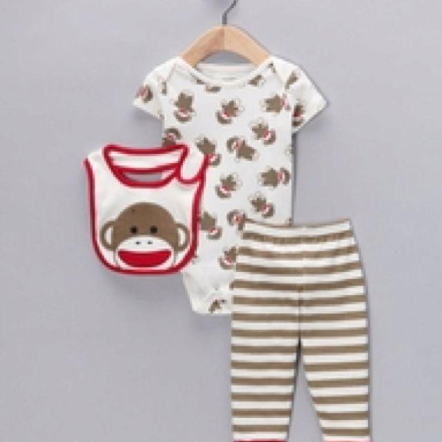 Sock monkey onesie, pants and bib | Sock monkey baby, Cute ...