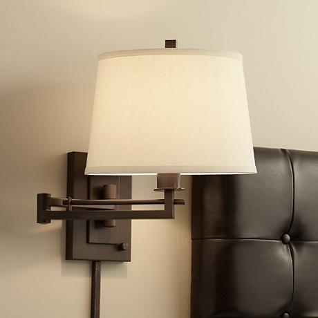 Easley Matte Bronze Plug In Swing Arm Wall Lamp R4625 Lamps Plus Swing Arm Wall Lamps Plug In Wall Lamp Wall Mounted Lamps