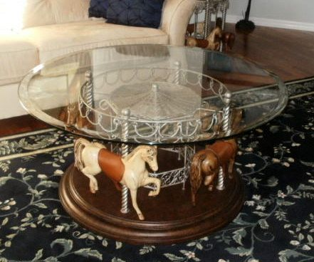 4 Horse Carousel Round Cocktail Table And/or End Table Set
