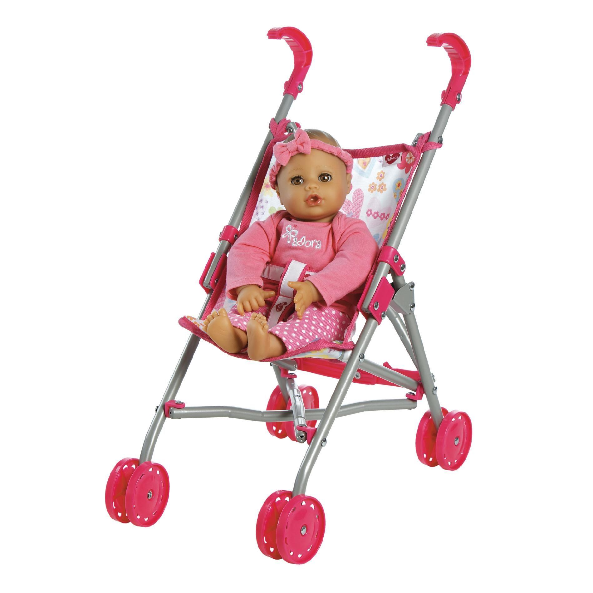 Adora Dolls Doll Accessories, Small Umbrella Stroller, Pink