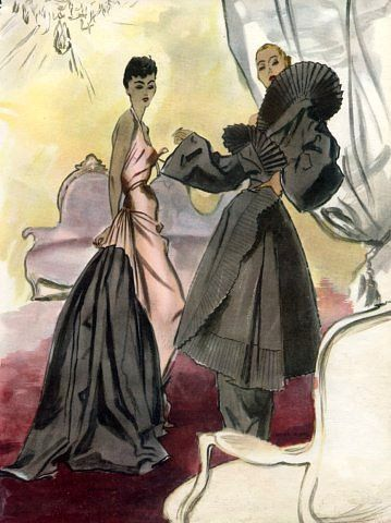 Maggy Rouff evening gown and Lucien Lelong coat illustrated by Pierre Mourgue, 1948