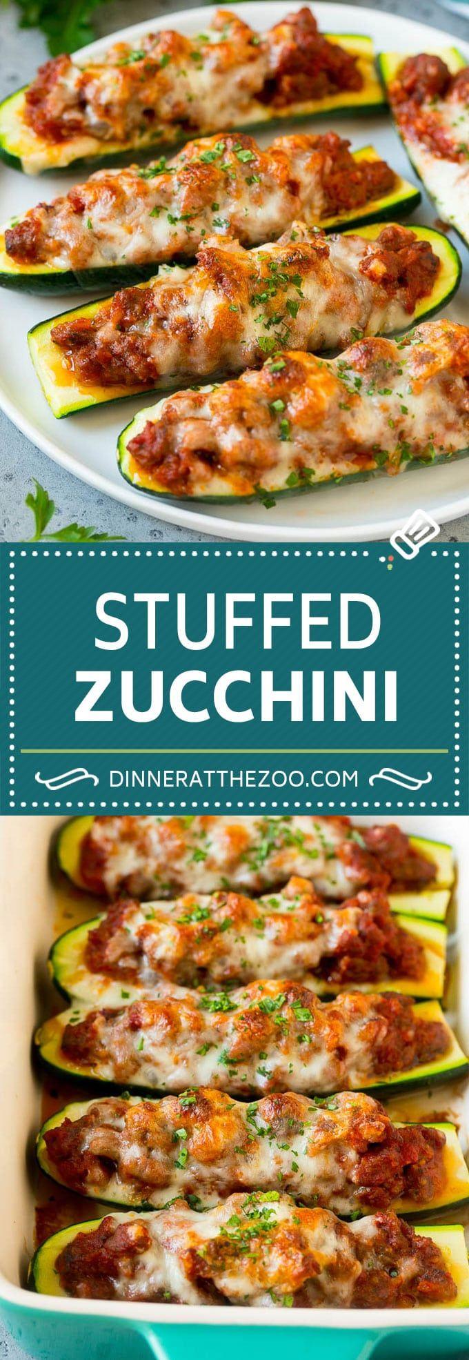 Stuffed Zucchini Boats Recipe  Baked Zucchini  Low Carb Zucchini