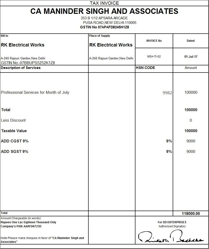 Gst Tax Invoice Template Invoice Format In Excel Invoice Format Invoice Template Word