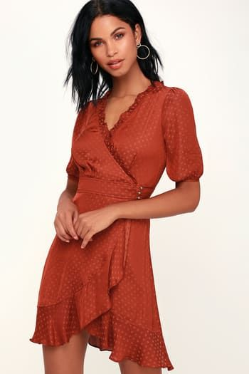 6dcfedb61b4 Dee Dee Rust Red Polka Dot Satin Wrap Dress