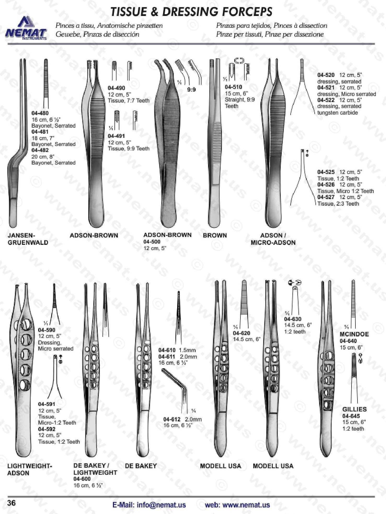 TISSUE AND DRESSING FORCEPS | E-Catalog Surgical Instrument ... for Forceps Types  166kxo