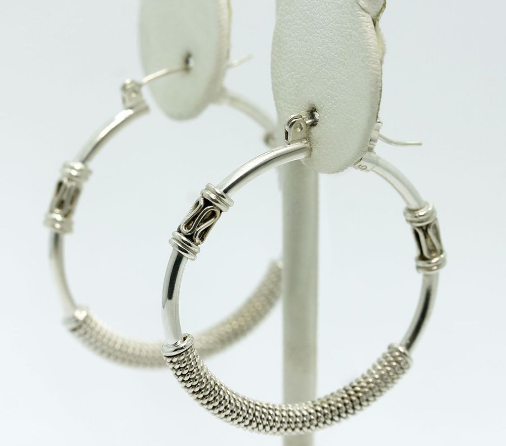 Sterling Silver Bali Twisted Textured Wire Wrapped Hoop Earrings