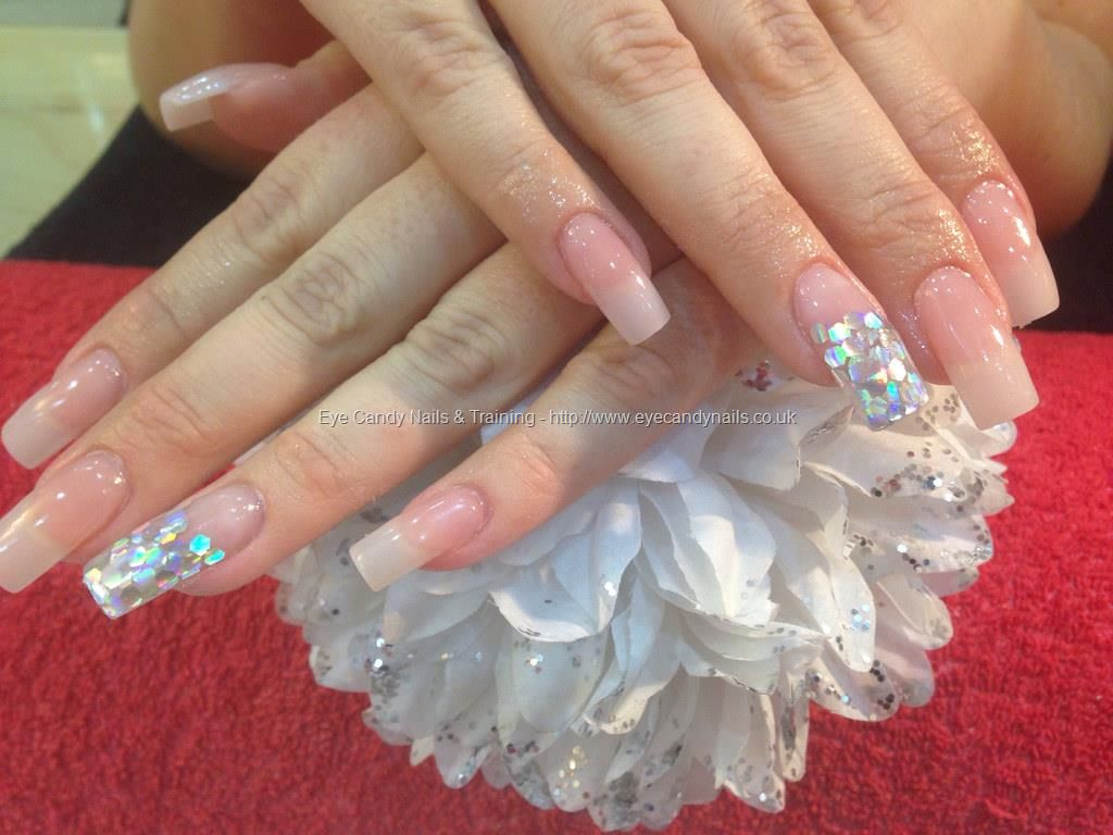 Full set of acrylic nails with silver under acrylic and pink whisper ...