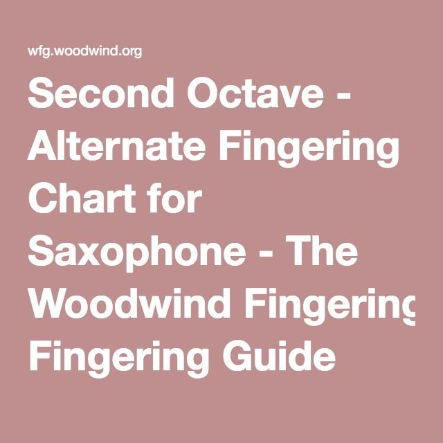 Second Octave - Alternate Fingering Chart For Saxophone - The