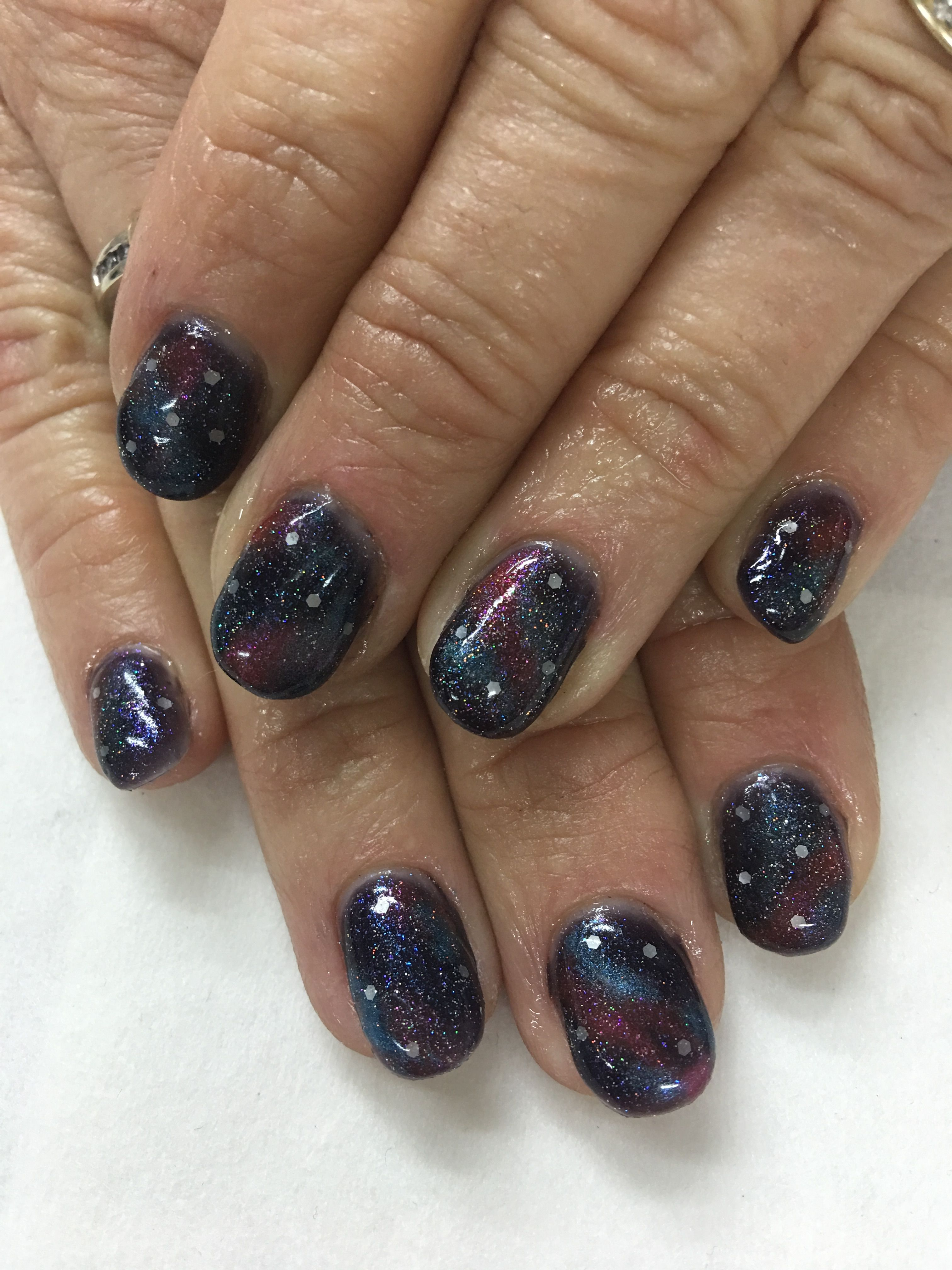 Midnight Blue Galaxy Gel Nails | Gel Nail designs | Pinterest