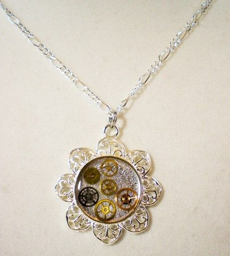 Necklace Steampunk Silver Flower w/Layered Gears - Up to 24 in. | Javagoth - Jewelry on ArtFire
