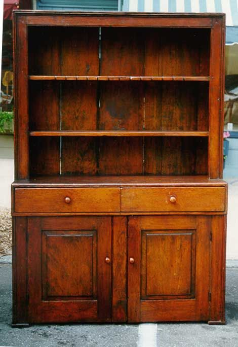 Antique Furniture Old Pine Step Back Cupboard