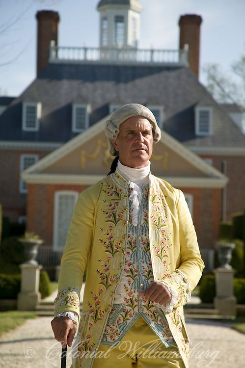 The Royal Governor, Lord Dunmore at the Governor's Palace garden. Colonial Williamsburg