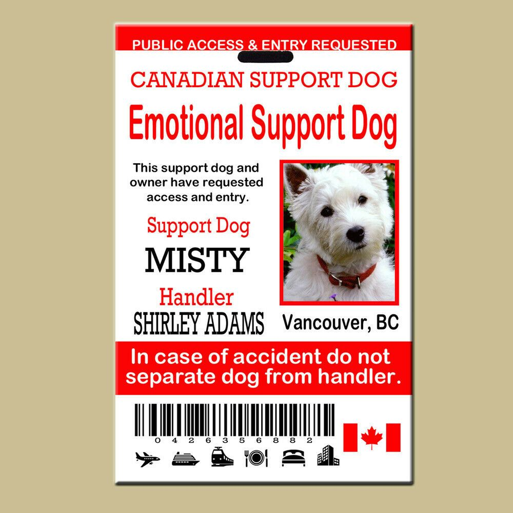 Canadian Service Emotional Support Dog Id Card Emotional Support
