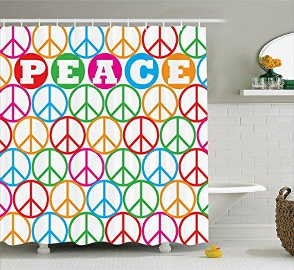 Peace Sign Bathroom Decor 1960S Decor Shower Curtain Setambesonne Colorful