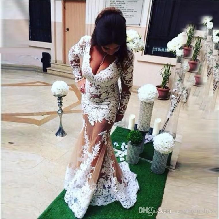White Lace Long Sleeve Plus Size Prom Dresses 2017 Sexy v Neck See ...