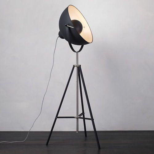 Industrial Parabolic Tripod Hollywood Spotlight Floor Lamp With