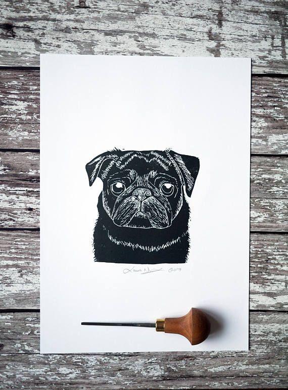 Black Pug Print A4 Lino Print Art Hand Printed Lino Print Pug Gift