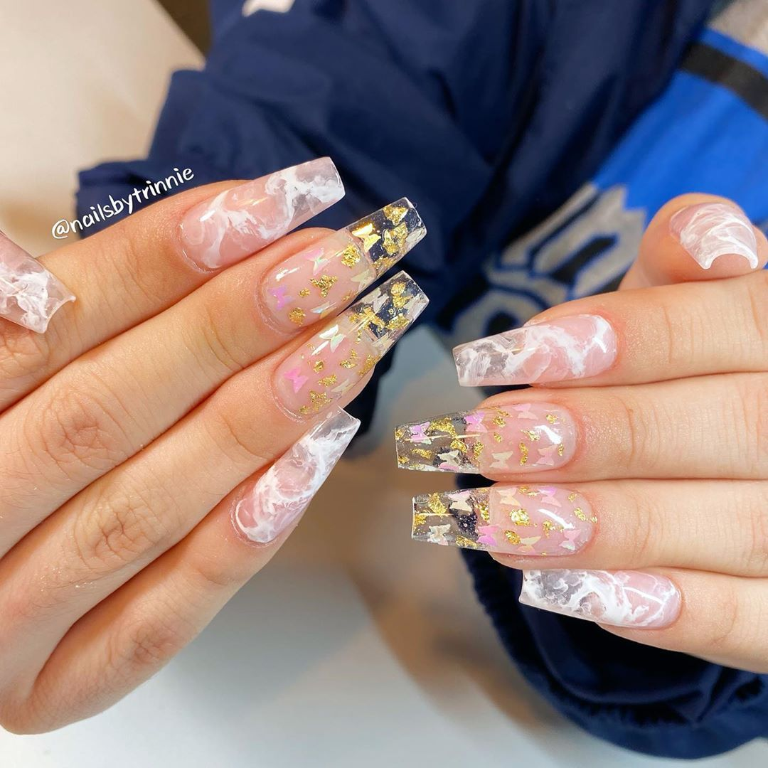 Nails By Trinnie Studio On Instagram Encapsulated Butterfly With Gold Foils And White Marble White Nails With Gold Butterfly Nail Gold Stiletto Nails