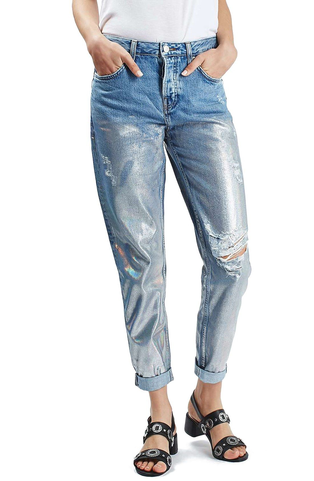 Free shipping and returns on Topshop 'Hayden' Metallic Distressed Boyfriend Jeans at Nordstrom.com. Boyfriend jeans with a relaxed fit and distressing get a weekend-savvy update with hastily brushed silver foil for a glam effect.