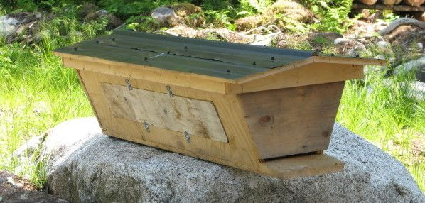 Here is a top bar hive, designed and built by Adam Foster ...