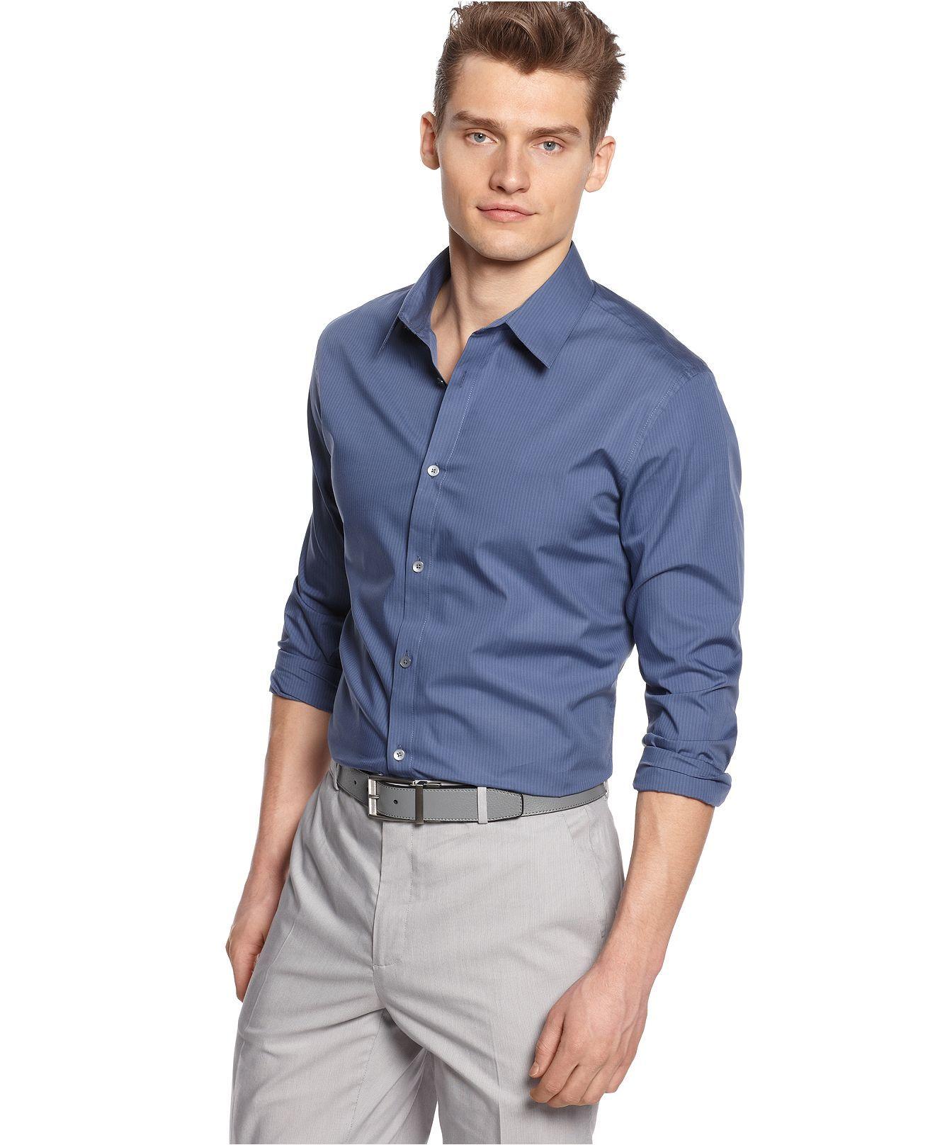 $55 Calvin Klein Shirt, Core Slim Fit Mini Sail Stripe Shirt ...