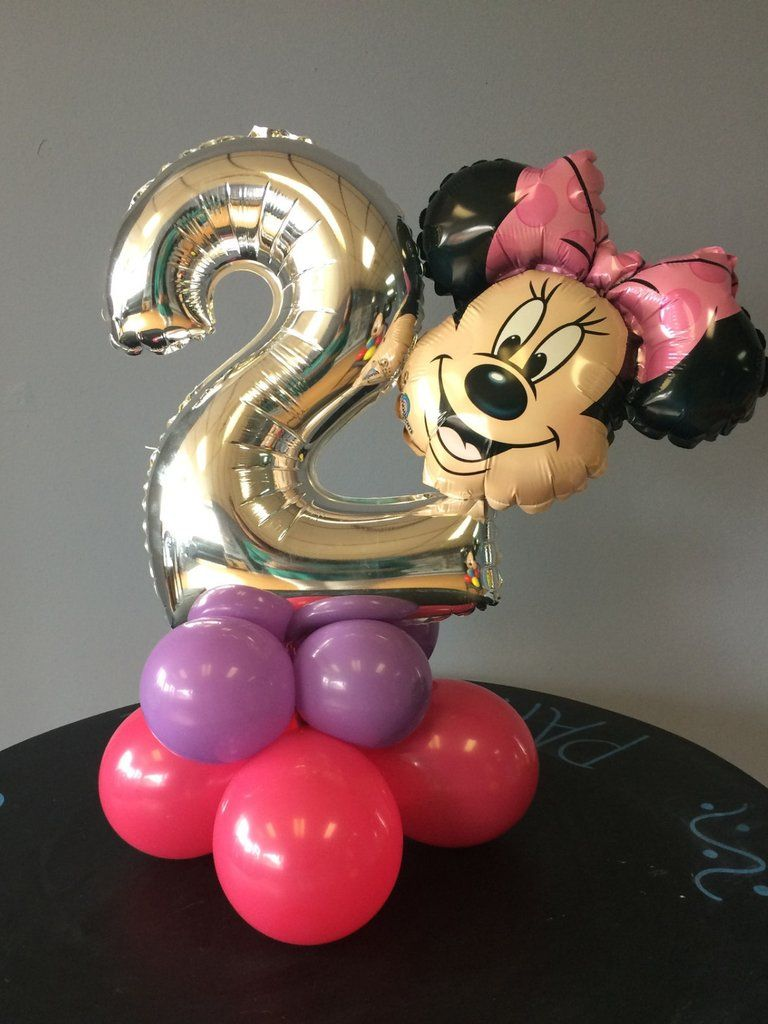 FOIL BALLOON TABLE DECORATION DISPLAY AIRFILL NO HELIUM MINNIE MOUSE DISNEY P