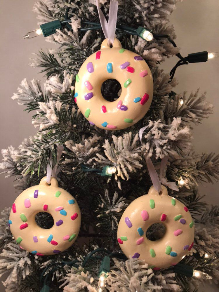 Excited To Share The Latest Addition To My Etsy Shop New Listing Set Of 3 Donut Ornaments Ornaments Candyland Christmas Ornaments