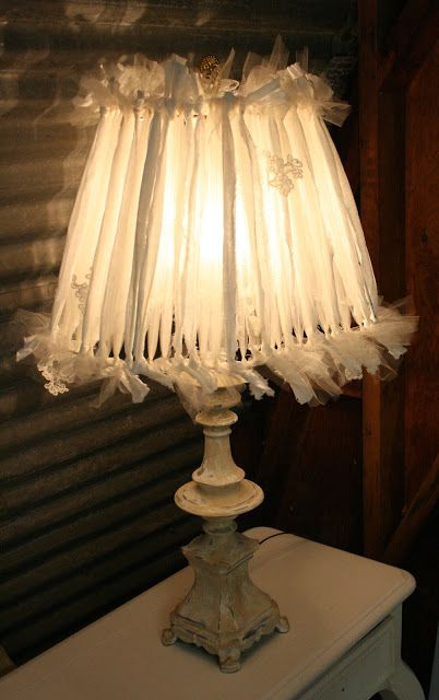 Linen And Tulle Lampshade Diy Lamp Shade Shabby Chic Lamp