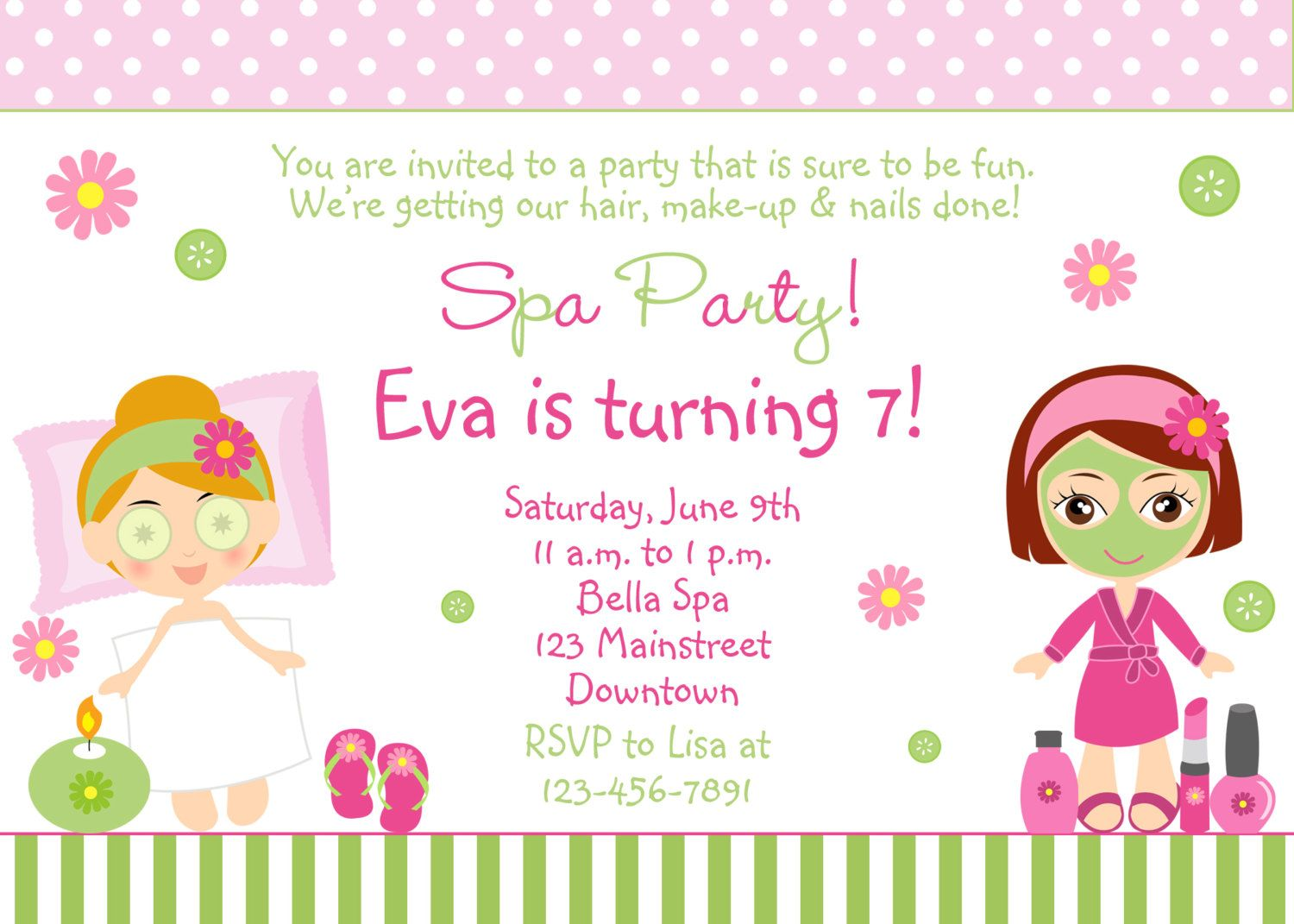 spa birthday party invitation printable invitation spa girls you print or i print