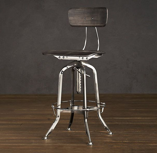Vintage Toledo Chair Polished Chrome Bar Stool Overall 17 W X 16 D 38 42 H Seat 25 29