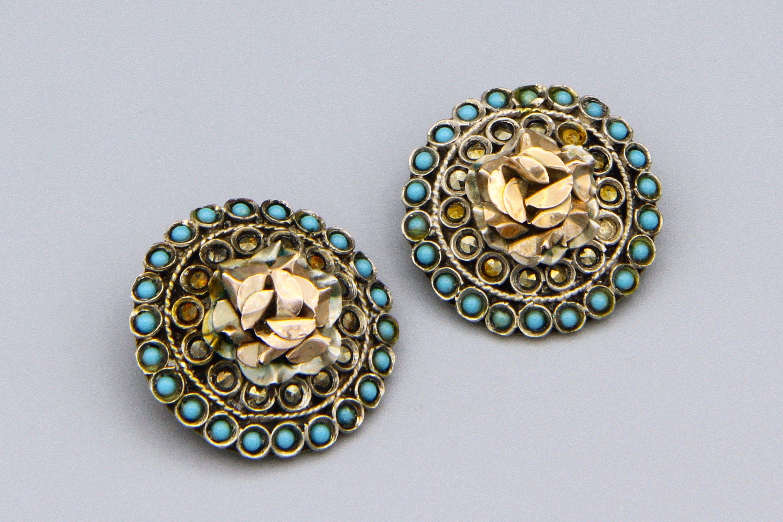 Sterling Silver and 10K Rose Gold Earrings, Vintage Greek