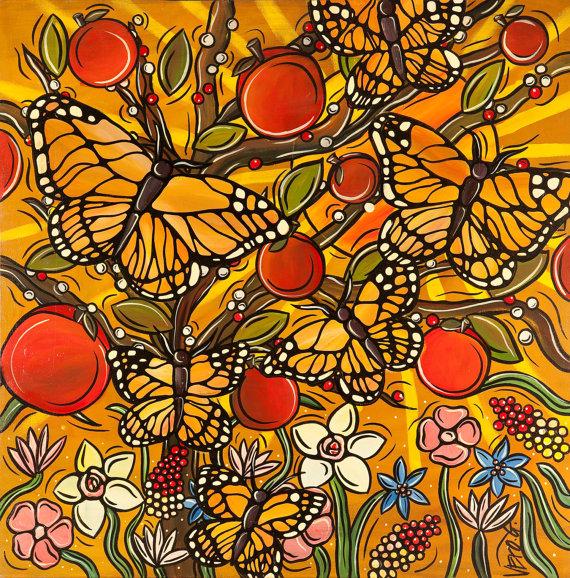 Autumn Monarch Butterflies Art Print Butterfly Kitchen Decor Original Fine Art Print Mustard Yellow Butterflies With Autumn Apple