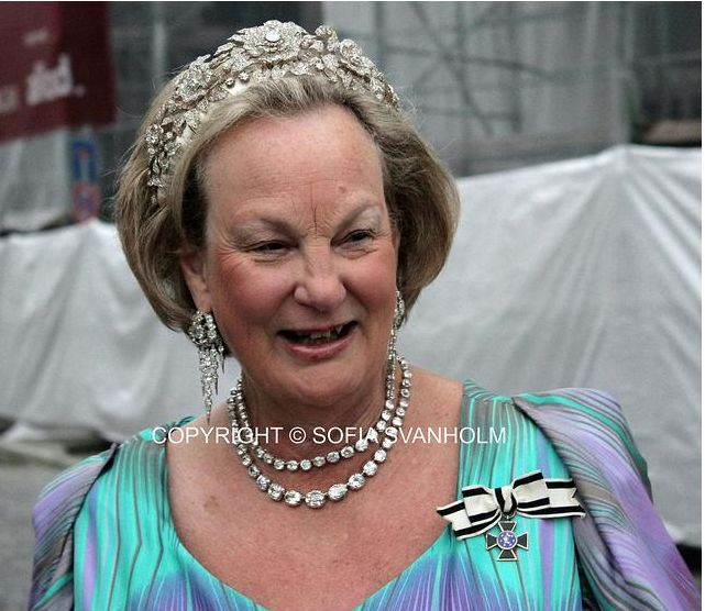 Princess Anastasia of Loewenstein-Wertheim-Rosenberg, wearing a large diamond floral tiara to the wedding of Princess Sophie of Isenberg and Prince Georg of Prussia on 27th August 2011. Image courtesy of Sofia Vanholm.