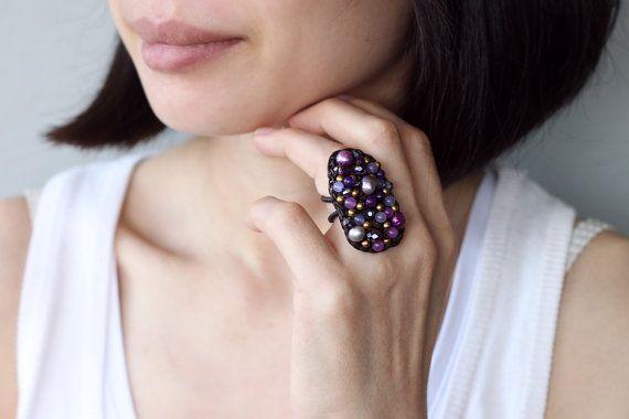La naturaleza forma mezcla púrpura Glam Ring por XtraVirgin en Etsy