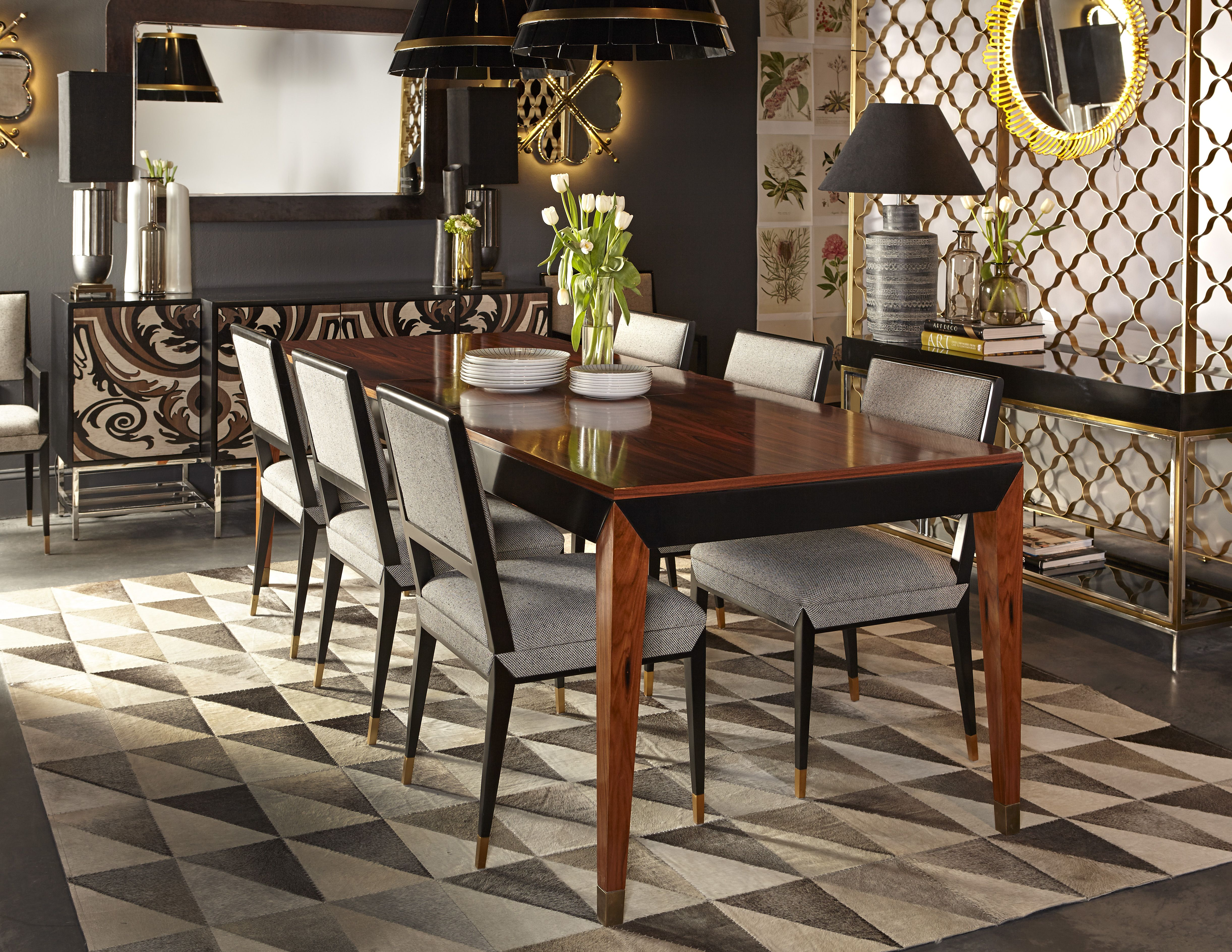 Black lacquer meets rosewood in the Reform dining table by Boyd ...