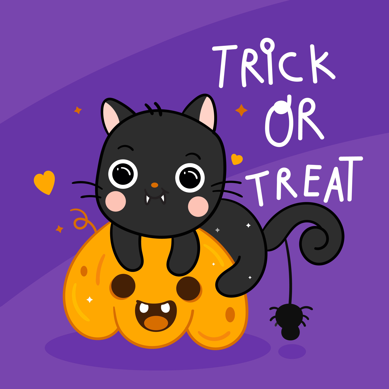 Cute Halloween cat vector and spider with pumpkin cartoon