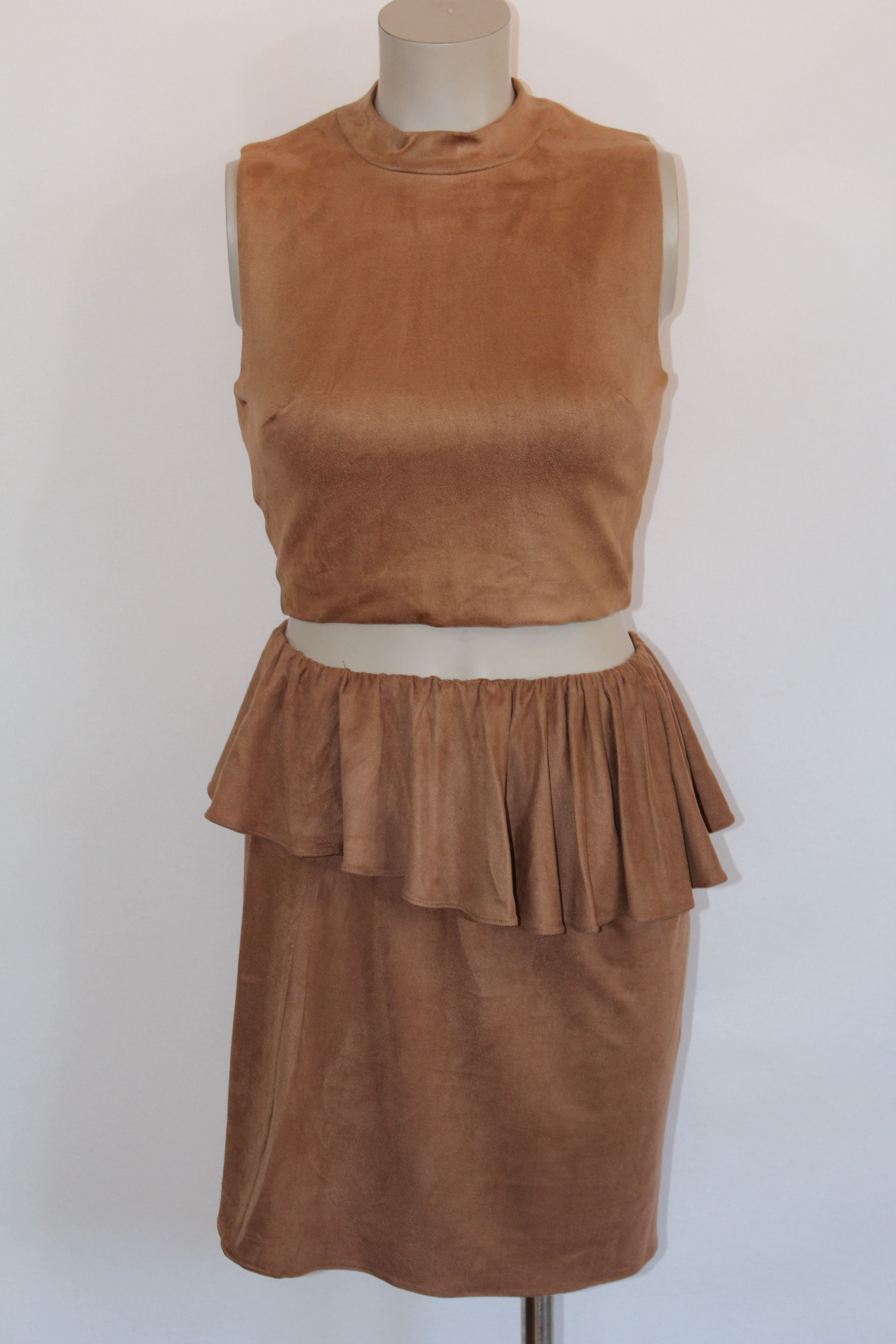 awesome OLIVACEOUS MATCHING BROWN TOP AND SKIRT