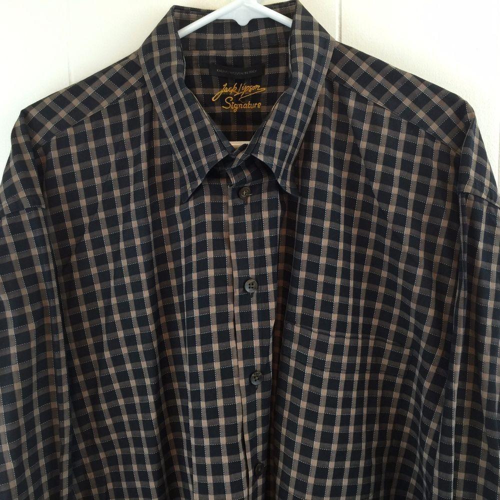 Jack Lipson Signature XXL Mens Shirt Black Brown Plaid Long Sleeve ...