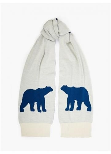 Christopher Raeburn Men's White Polar Bear Knit Scarf Oki Ni