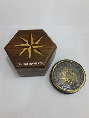 Thor Instruments Co Solid Brass Vintage Black Antique Compass With Wooden Box You Can Get More Details By Clicking On Wooden Boxes Antique Style Solid Brass