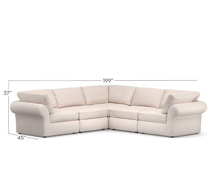 Pb Air Roll Arm Upholstered 5 Piece L Shaped Sectional Furniture