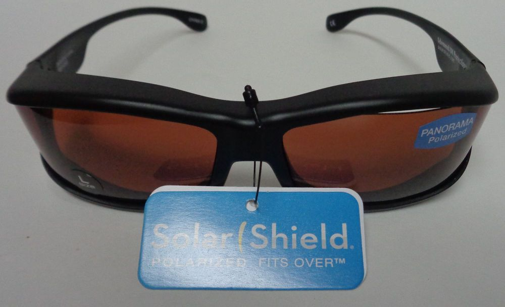 247f8a7ad6f POLARIZED SOLAR SHIELD FIT OVER SUNGLASSES LARGE Panorama FG NWT Black  Classic  SOLARSHIELD  Rectangular