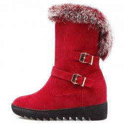59fead015e5 Buckles Faux Fur Hidden Wedge Snow Boots