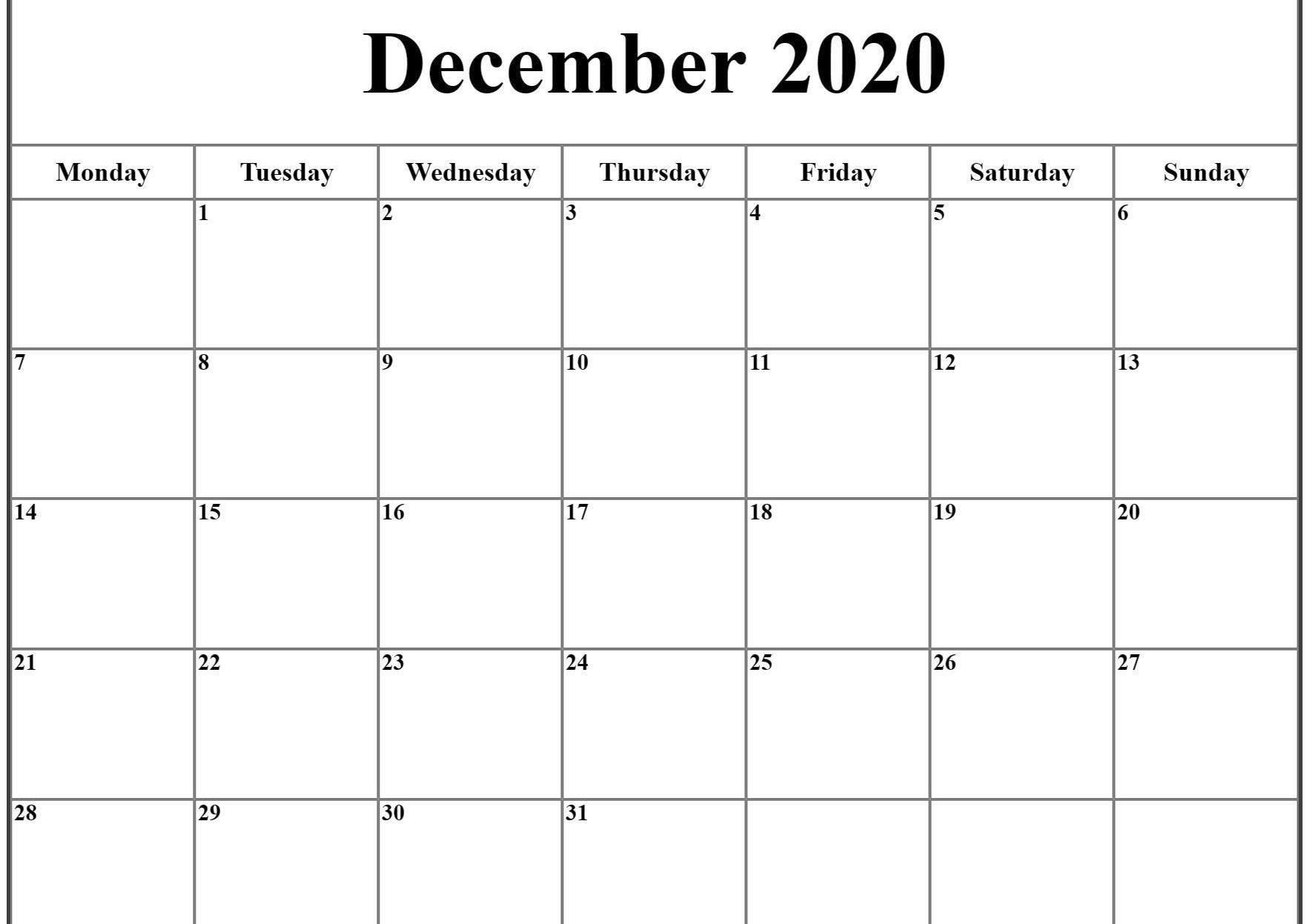 December Calendar 2020 Pdf Word Excel Printable Template Excel