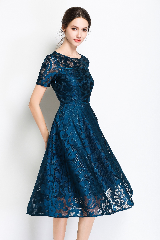 Evening crewneck short sleeve full skirt lace midi dress
