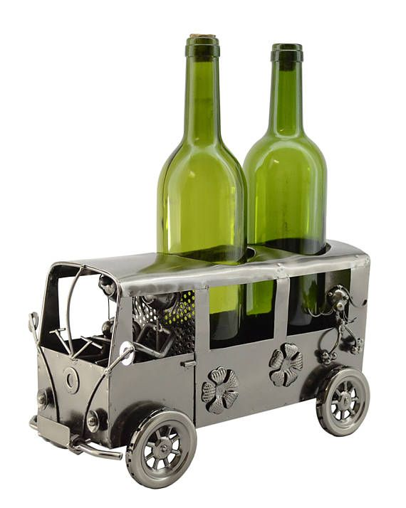 Hipster Hippy Mini Van Metal Wine Bottle Holder Character And Caddy