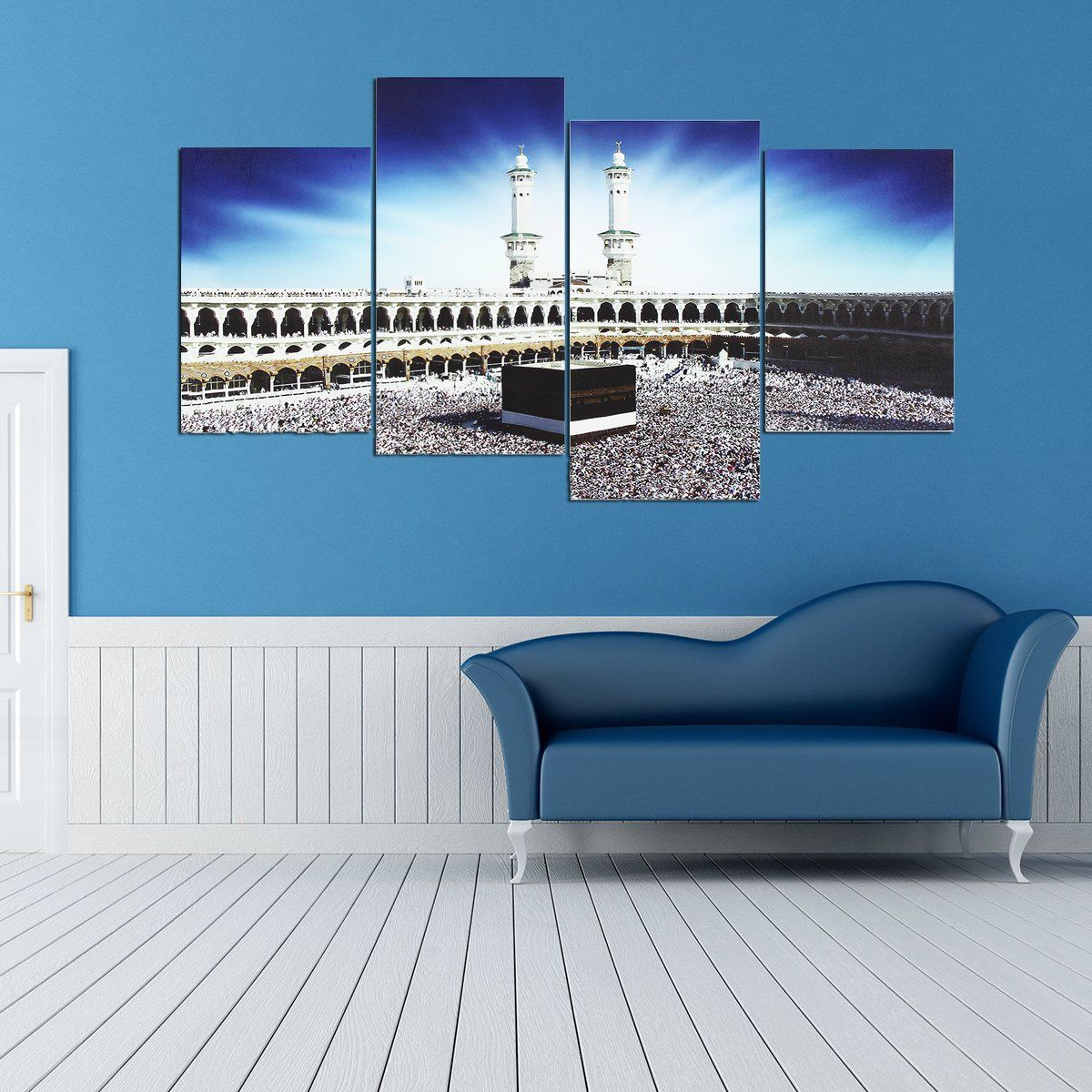 Home Decor Wall Picture 5 Panel Printed Painting KAABA IN MECCA CANVAS SET