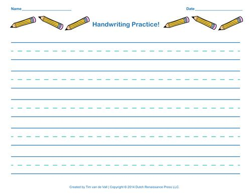 Free Handwriting Practice Paper For Kids With Images