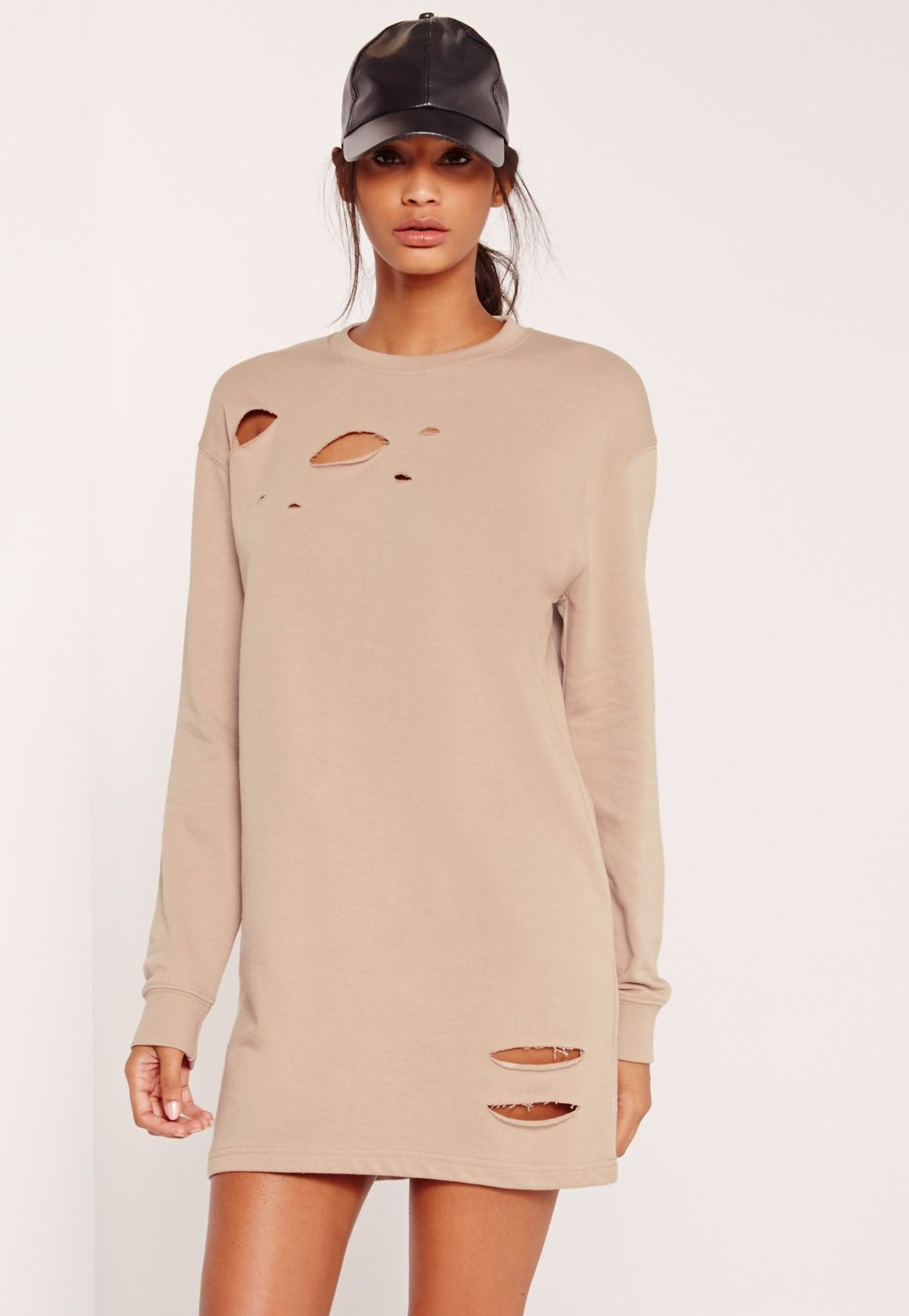 Grey Ripped Oversized Sweater Dress | Jumper dress, Missguided and ...