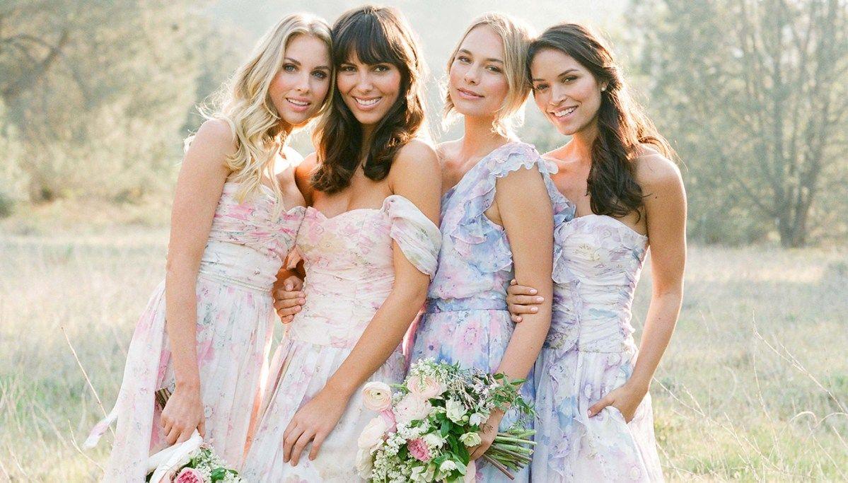 Floral print wedding dresses  Floral Print Bridesmaid Dresses in   Kiaras  Pinterest